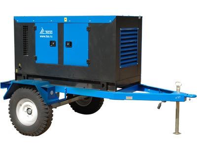 Дизельный генератор ТСС ЭД-50-Т400-1РПМ11 в кожухе на шасси